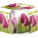 Großhandel Dekoration: Duftkerze  Motivglas Blume 100gr weisses Wachs