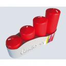 candele pilastro set di 4 4 formati assortito ross