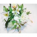Großhandel Kunstblumen: Blumenstrauß LUXUS  in weiß mit 13 Blumenköpfen