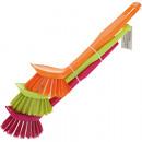 Großhandel Reinigung: Spülbürste 3er  18x3,5 cm in Trendfarben sortiert