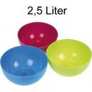 grossiste Mercerie et couture: Bowl couleurs 2.5L  rondes assorti en plastique