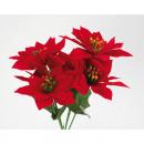 grossiste Fleurs artificielles: bouquet poinsettia  velours ! Taille globale 30x20c