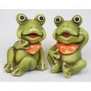 Großhandel Figuren & Skulpturen: Frosch 8x6x6cm mit  gemalten Augen und Halstuch