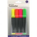 grossiste Stylos et crayons: Surligneur 4-12cm  4 couleurs assorti Carte