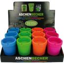 Großhandel Aschenbecher: Aschenbecher  Colors sortiert im Display 11x8cm