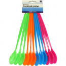 wholesale Cutlery: Spoon Cocktail Set  of 12 4 colors assorted , 21 cm