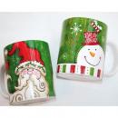 grossiste Tasses & Mugs: tasse à café  12x9,5x8,5cm, 2 dessins assorti