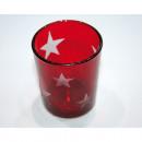 Großhandel Windlichter & Laternen: Windlichtglas  6,5x5cm klassisch rot mit großen Ste