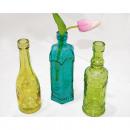 Großhandel Dekoration: Dekoglasflasche  16,5x5,5cm, Farben sortiert