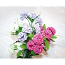 Großhandel Kunstblumen: Strauß mit 6  vollen Blüten  55cm, Farben ...