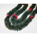 Großhandel Dekoration: Weihnachtsgirlande  200x6cm mit Samtschleifen,