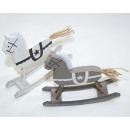 wholesale Home & Living: Wooden swinging  horse with jute tail, 11,9x3,3x