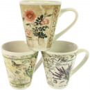 wholesale Cups & Mugs: Coffee mug  Blumendesign conical 10 x 8,5cm