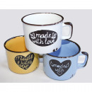 Großhandel Home & Living: Kaffeebecher  Emaille-Style  LOVE, aus Keramik ...
