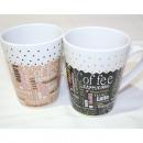 Coffee mug coffee design conical 325ml, assorted