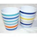 Coffee mug stripe design 325ml, conical shape
