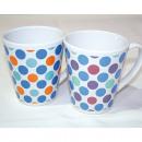 Coffee mug dots design 325ml, conical shape