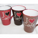 wholesale Toys: Coffee Mug XL 360ml Café Design 3 times assorted