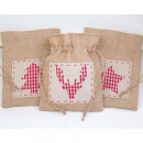 Jute bag with  great application 20x16cm 3-fold sor