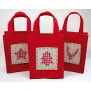Felt bag with jute  application 16,5x 13,5x7cm from
