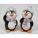 wholesale Fashion & Apparel: Penguin with  flocked cap and scarf 10x6x5cm, 2