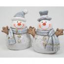 groothandel Home & Living: Sneeuwman LUXUS XL  met glitter 11x10x6cm, 2-