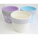 wholesale Garden & DIY store: Plant pot with rose motif 9x7cm, made of ceramic