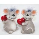 grossiste Figurines & Sclulptures: Souris avec grand  coeur et 9,5x7cm de cheveux doux