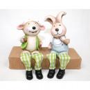 Großhandel Figuren & Skulpturen: Hase und Schaf als  Kantensitzer mit Stoffbeinen