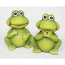 Großhandel Figuren & Skulpturen: Frosch mit großen  Augen 9x8x6cm, 2 Posen sortiert