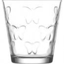 Bicchiere da 250ml in vetro d'acqua, farfalla