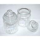wholesale Houshold & Kitchen: Storage jar  13x8x8cm, with lid and stripe structur