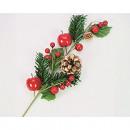 grossiste Fleurs artificielles: Dekozweig 9x5x30cm  avec des pommes rouges brillant