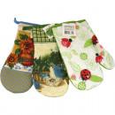 wholesale Plants & Pots: Oven glove with  flowers motive 28x13cm 3-f. sortie