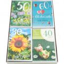 Großhandel Geschenkartikel & Papeterie: Karte Geburtstag  17x11,5cm Blumen und Zahlen