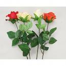 Großhandel Kunstblumen: Rose halboffene  Blüte, 68cm extra lang, 4 Farben