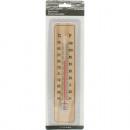 Großhandel Wetterstationen: Thermometer aus  Holz auf Karte 22x5x0,5cm