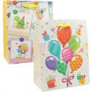 Geschenktasche 23x18cm Ballon+Kindermotiv 2-fsorti