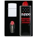 Zippo Geschenk Set mit Orginal Zippo Fzg.Chrom Pol
