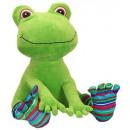 Großhandel Fashion & Accessoires: Frosch, sitzend,  mit großen Augen, Ringelsocken, c