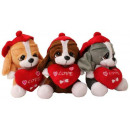 Großhandel Fashion & Accessoires: Hund mit  Herz&Mütze  I Love  You  3-fach sort. ...