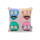 Colorful Mustache  Skulls Pink 45 x 45 Pink