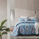 Bedspread Retro Flower Blue 260 x 250 Blue