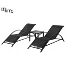wholesale Small Furniture: Sunbed set + Table 3 Piece Black 60 x 163 x 65 Z