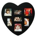 grossiste Images et cadres: Coeur cadre photo  noir pour 7 Photos - 2478