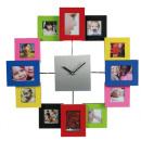 Großhandel Bilder & Rahmen: Wanduhr - mit  Bilderrahmen - bunt  RP