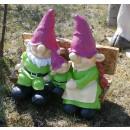 wholesale Garden & DIY store: Dekofigur - Imp  family on bench - green
