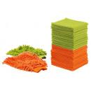 Großhandel Reinigung: Microfaser-Tücher  Set 22tlg. - orange/grün - seen