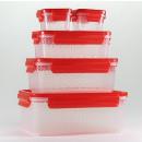 Großhandel Haushalt & Küche: Frischhaltedosen  10 tlg. -rot- Gourmetmaxx