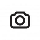 Weihnachtswichtel mit LED-Sternen auf Baumstamm, w